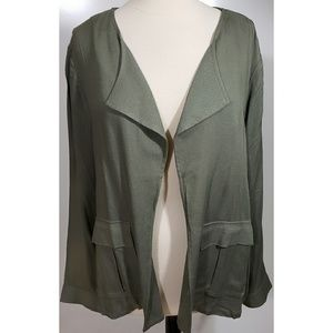 Olive Open Front Jacket By DR2 sz PXL NWT